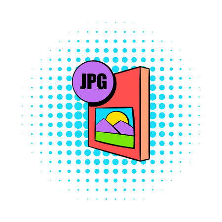 jpg: JPG file icon in comics style on a white background Illustration