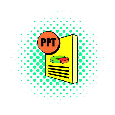 ppt: PPT file icon in comics style on a white background Illustration