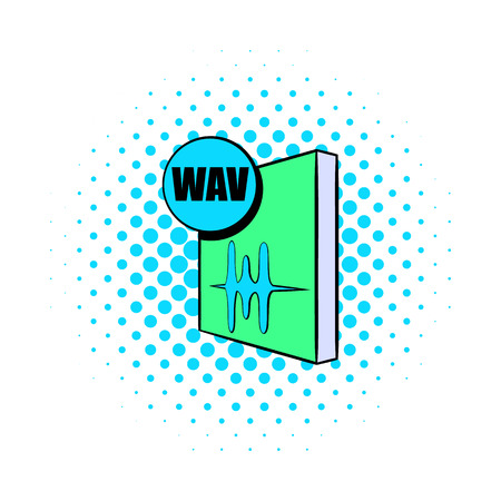 wav: WAV file icon in comics style on a white background Illustration