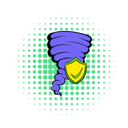 Hurricane insurance icon in comics style on a white background