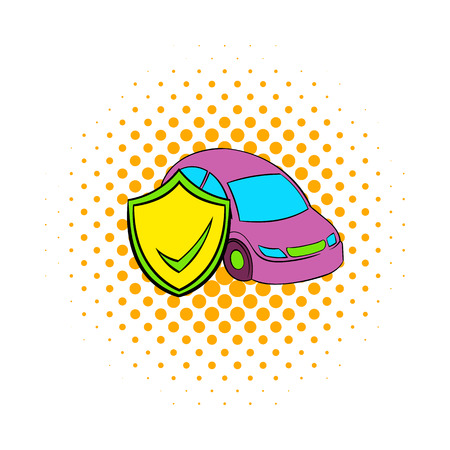 safely: Car insurance icon in comics style on a white background Illustration