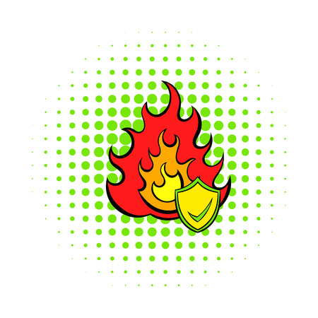 incident: Fire and shield with tick icon in comics style on a white background Illustration