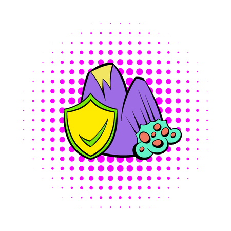 landslide: Landslide and yellow shield with tick icon in comics style on a white background
