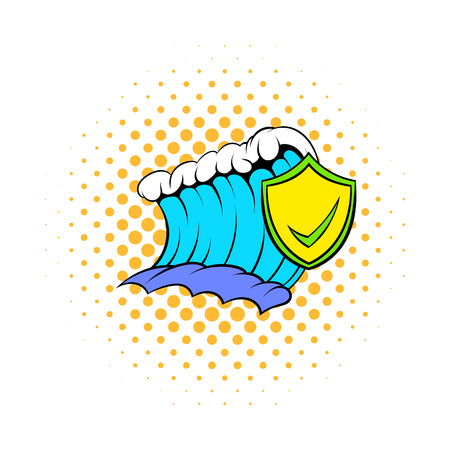tsunami wave: Blue tsunami wave and yellow shield with tick icon in comics style on a white background