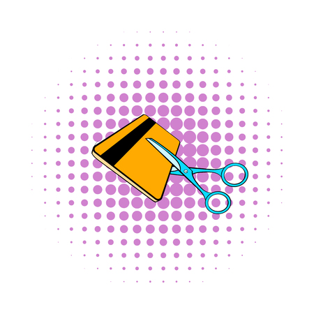 eliminate: Scissors cut credit card icon in comics style on dotted background. Finance and revenue symbol