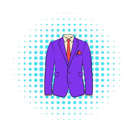 tailored: Men jacket with shirt icon in comics style on dotted background. Closet symbol