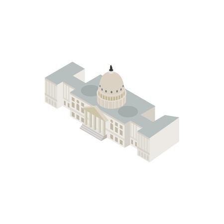 Wit huis USA icoon in isometrische 3D-stijl op een witte achtergrond. Staat en de overheid symbool