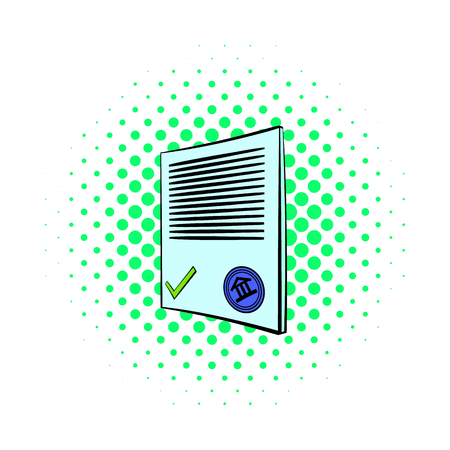 treatise: Document icon in comics style on dotted background. Documentation symbol Illustration