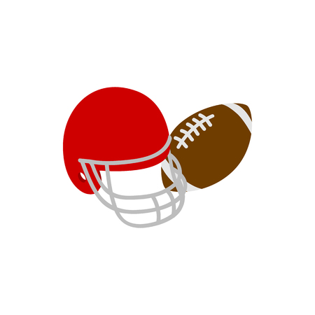 nfl helmet: Helmet and ball rugby icon in isometric 3d style isolated on white background. American football symbol