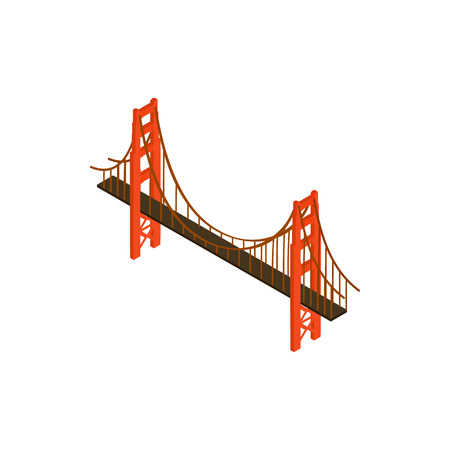 brooklyn: Brooklyn bridge icon in isometric 3d style isolated on white background. Landmark symbol