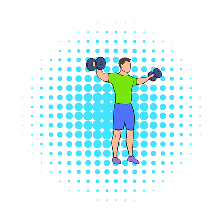Man making standing dumbbell lateral raises icon in comics style on a white background