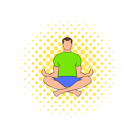 legs crossed: Man sitting in lotus posture icon in comics style on a white background