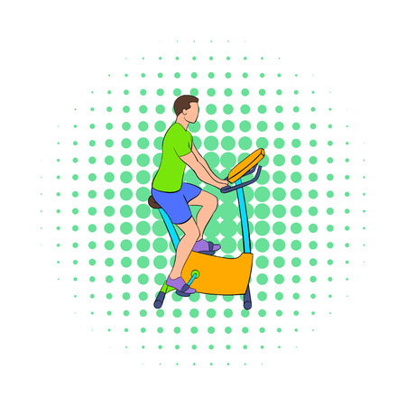 stationary bike: Man training on a stationary bike icon in comics style on a white background