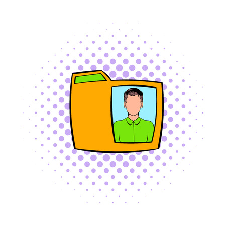 yellow photo: Yellow folder with male photo icon in comics style on a white background