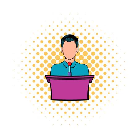 Orador hablando desde la tribuna icono de estilo cómic sobre un fondo blanco