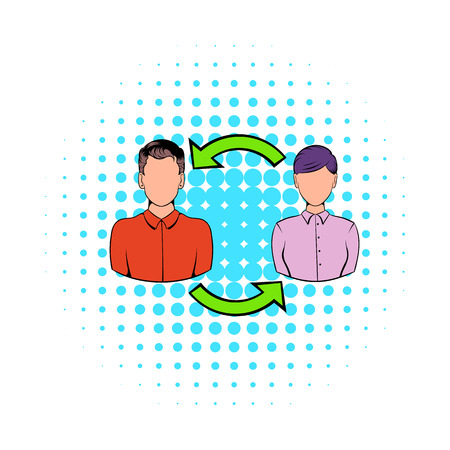turnover: Staff turnover concept icon in comics style on a white background