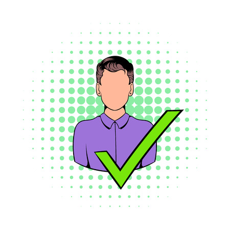 green tick: Businessman with a green tick icon in comics style on a white background Illustration