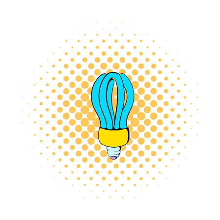 fluorescence: Fluorescence lamp icon in comics style on a white background