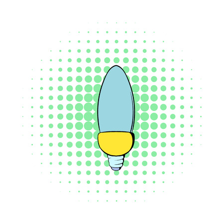 Lamp oval shape icon in comics style on a white background