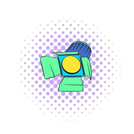 studio lighting: Studio lighting icon in comics style on a white background