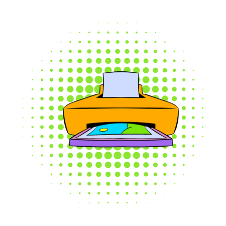 Photo printer icon in comics style on a white background
