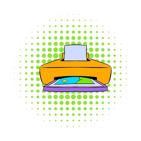 photo printer: Photo printer icon in comics style on a white background
