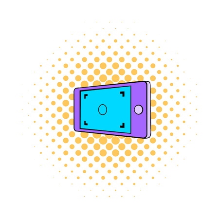 len: Camera viewfinder icon in comics style on a white background Illustration