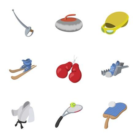 Training icons set, cartoon style