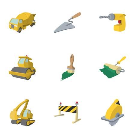 Ensemble d'icônes d'outils de construction de routes, style de dessin animé Banque d'images - 69031402
