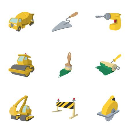 road building: Road building tools icons set, cartoon style