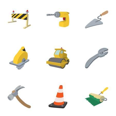 Ensemble d'icônes de réparation routière, style cartoon Banque d'images - 69268480