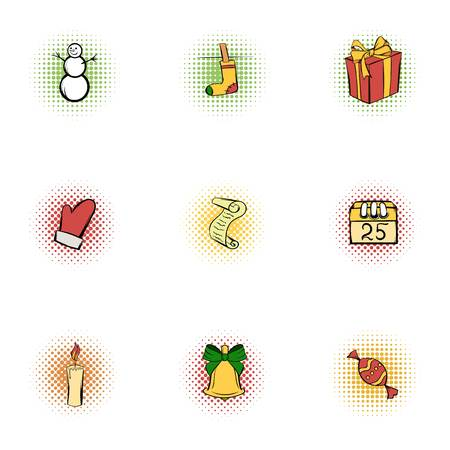 popart: New year icons set, pop-art style Illustration