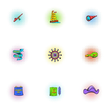 mainland: Search of mainland icons set, pop-art style