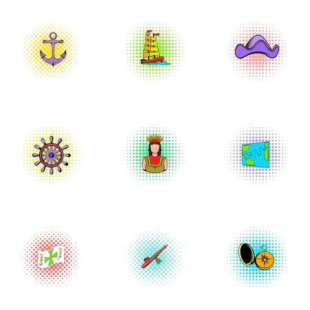 geography: Geography icons set, pop-art style Illustration