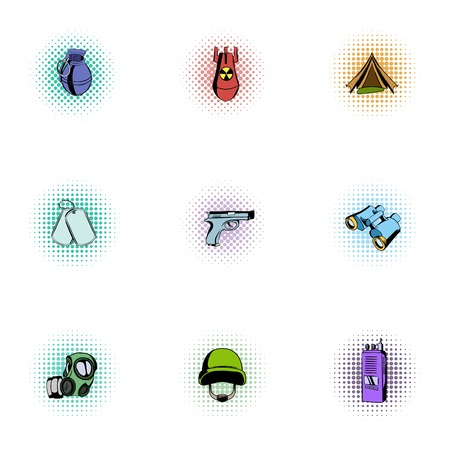 weapons: Weapons icons set, pop-art style