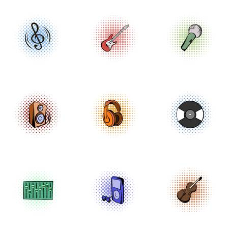 Tools for music icons set, pop-art style