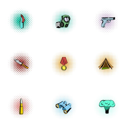 Military defense icons set, pop-art style