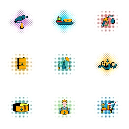 refueling: Fuel icons set, pop-art style