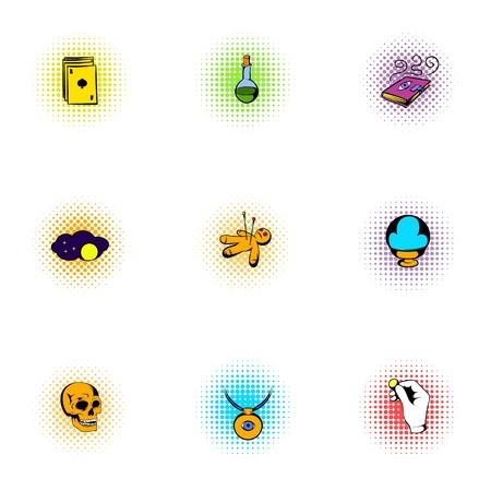 witchery: Witchery icons set, pop-art style
