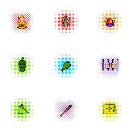 lawlessness: Lawlessness icons set, pop-art style Illustration
