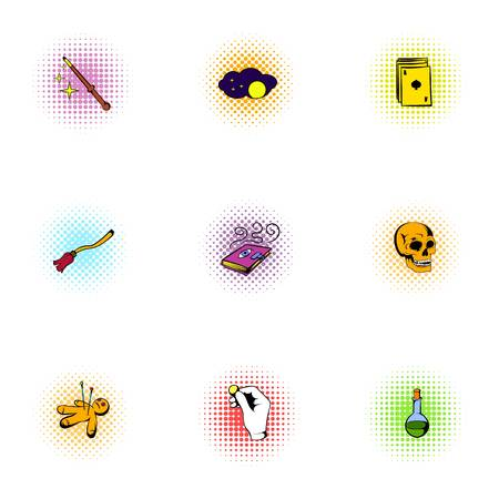 sorcery: Sorcery icons set, pop-art style