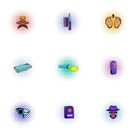 Inquest icons set, pop-art style