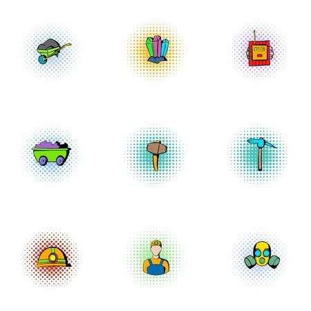 Colliery-Icons gesetzt, Pop-Art-Stil