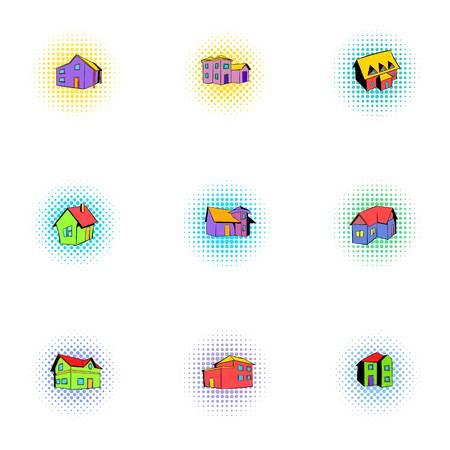 dwelling: Dwelling icons set, pop-art style