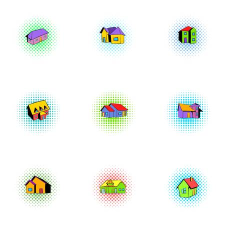 housing style: Housing icons set, pop-art style