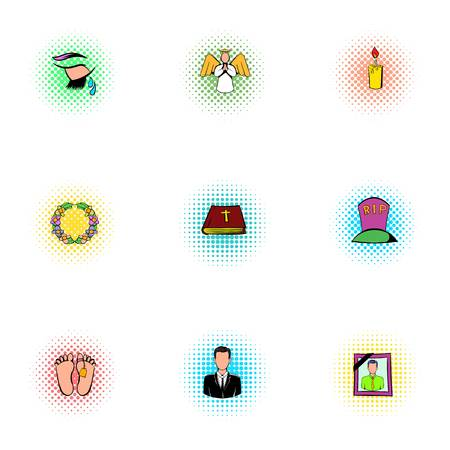 fatality: Funeral services icons set, pop-art style Illustration
