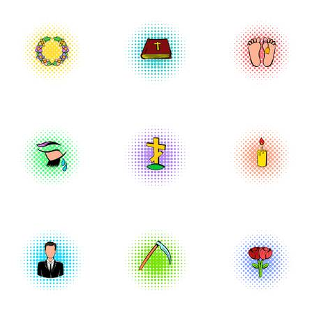 lifeless: Funeral icons set, pop-art style