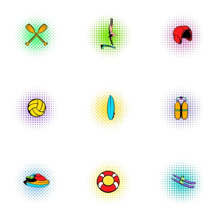 stay: Water stay icons set, pop-art style