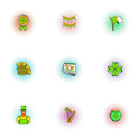17 march: March 17 Saint Patrick day icons set