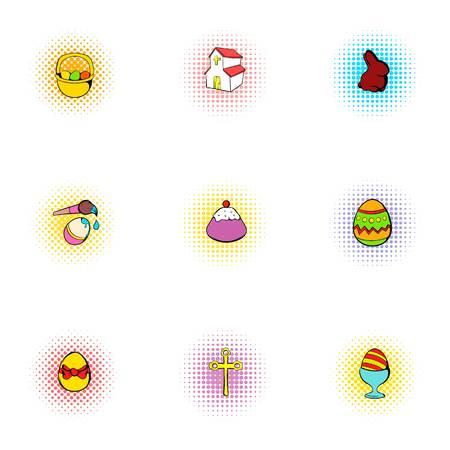 resurrection: Resurrection of Christ icons set, pop-art style
